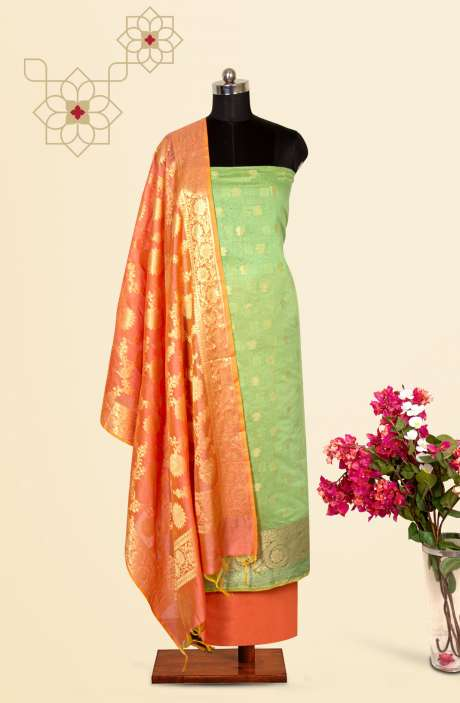 Beautiful Chanderi Silk Salwar Kameez In Green & Peach with Trendy Dupatta - BNFCHN4118