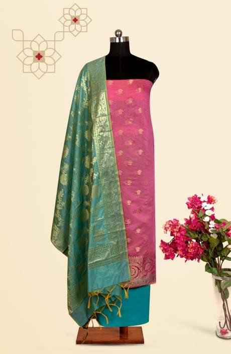 Beautiful Chanderi Silk Salwar Kameez In Pink & Firozi with Trendy Dupatta - BNFCHN4118A
