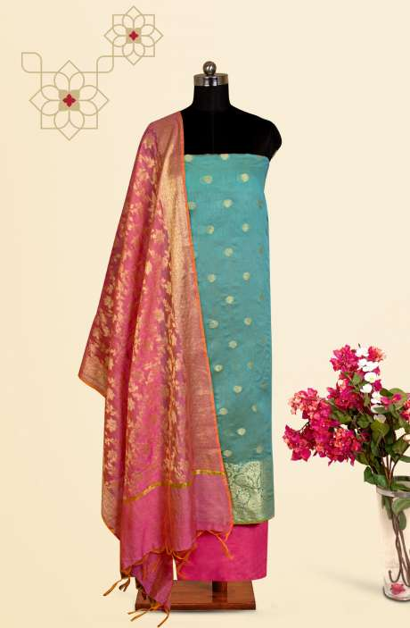 Beautiful Chanderi Silk Salwar Kameez In Firozi with Trendy Dupatta - BNFCHN4120B