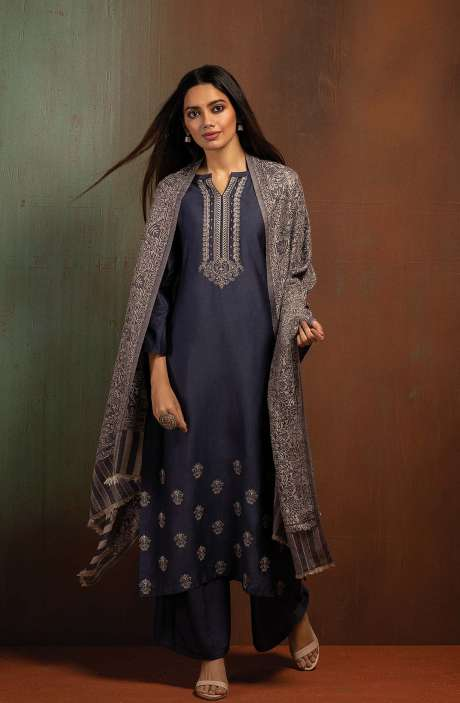 Pure Pashmina Exclusive Beautiful Salwar Kameez In Blue - BOO8005