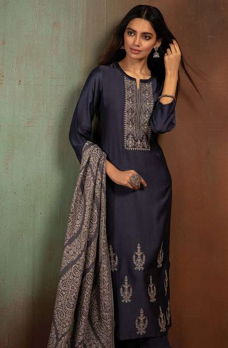 Pure Pashmina Exclusive Beautiful Salwar Kameez In Blue - BOO8006