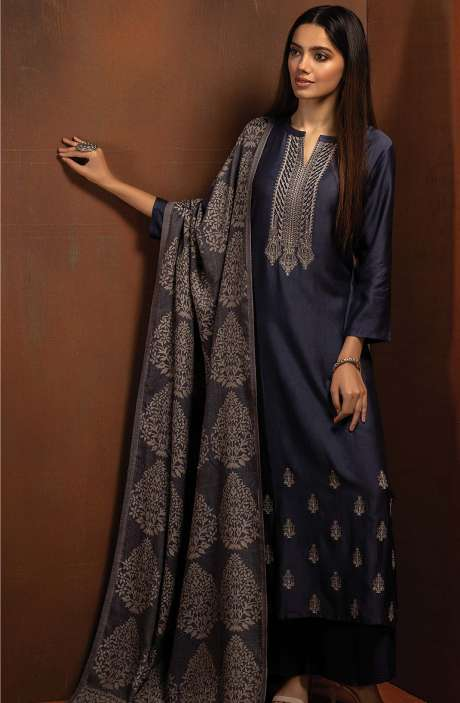 Pure Pashmina Exclusive Beautiful Salwar Kameez In Blue - BOO8007