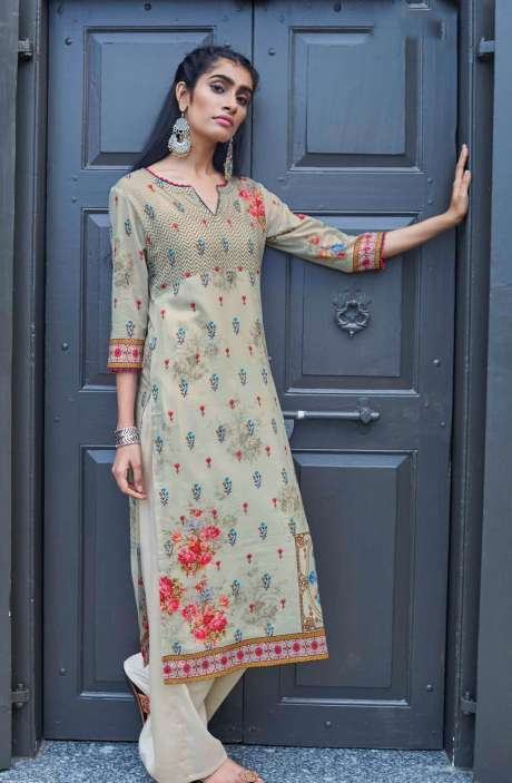 Stitched Cotton Printed Kurti In Cream - CAL5506