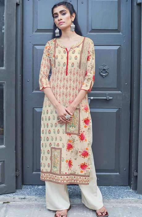Stitched Cotton Printed Beige Kurti - CAL5507
