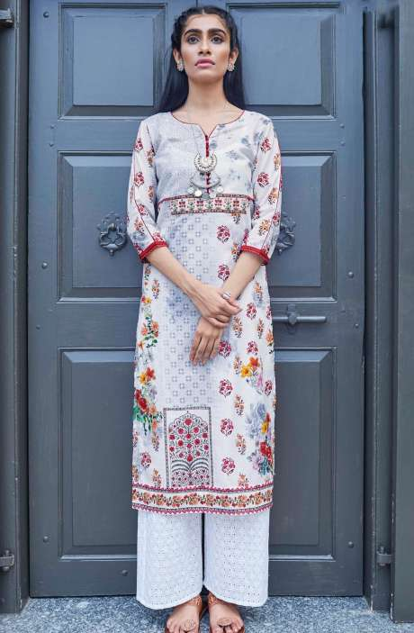 Stitched Cotton Printed White Kurti - CAL5508
