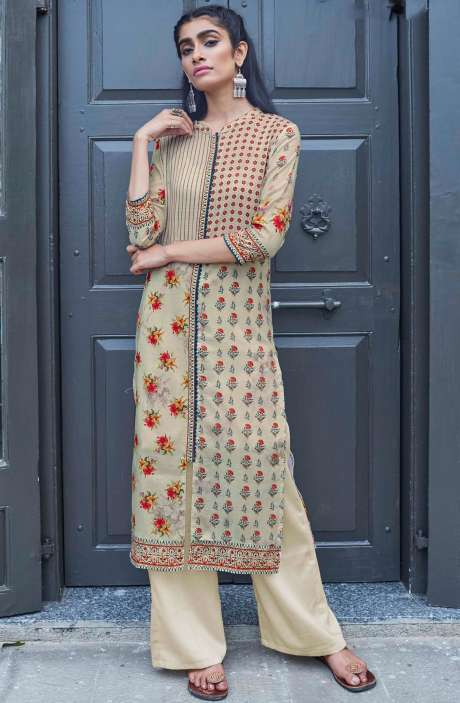 Readymade Beige Cotton Printed Kurti - CAL5511