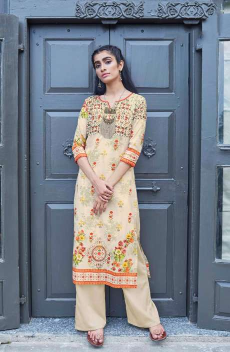 Readymade Cotton Beige Printed Kurti - CAL5512