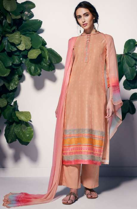Casual Chanderi Cotton Digital Printed Salwar Suit Sets In Peach - CAM7339