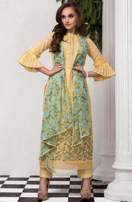 Exclusive Cotton Dobby with Cutwork Embroidered Salwar Suit In Yellow - CAS2202A