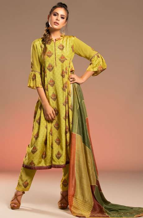 Mulberry Silk Beautiful Unstitched Salwar Kameez In Mehndi - CHA2290