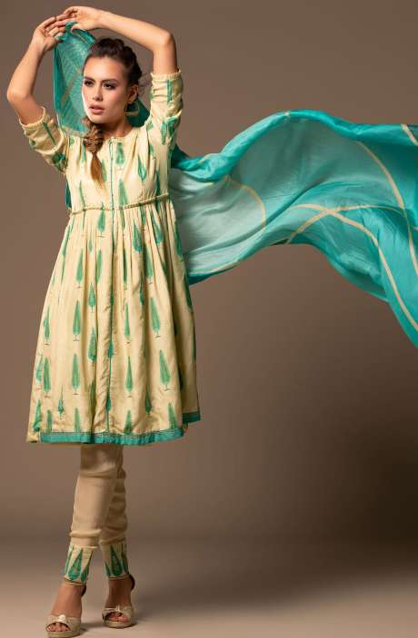 Mulberry Silk Beautiful Unstitched Salwar Kameez In Lemon Yellow - CHA2292