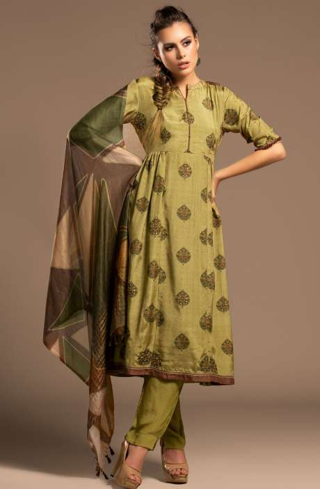 Mulberry Silk Beautiful Unstitched Salwar Kameez In Mehndi Green - CHA2294