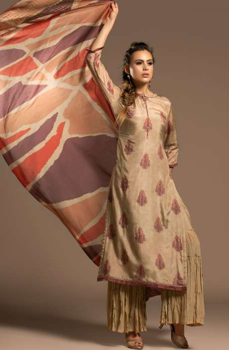 Mulberry Silk Beautiful Unstitched Salwar Kameez In Beige - CHA2296