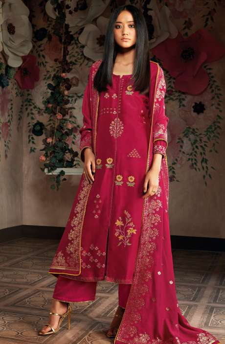 Russian Silk Zari and Embroidery Unstitched Salwar Kameez In Maroon - CHE7825