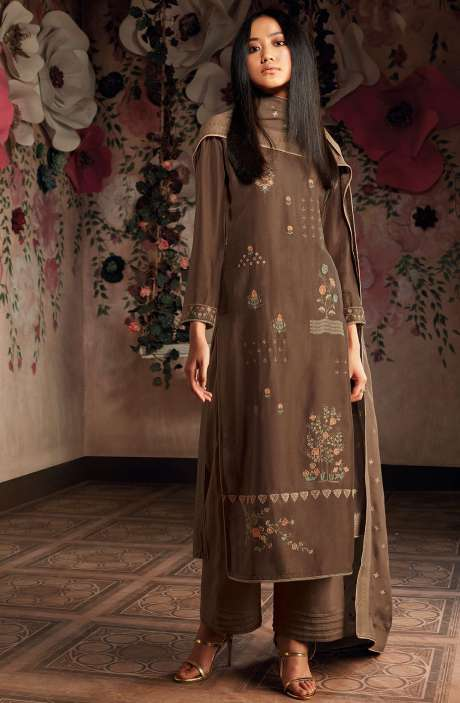 Russian Silk Zari and Embroidery Unstitched Salwar Kameez In Coffee Brown - CHE7827
