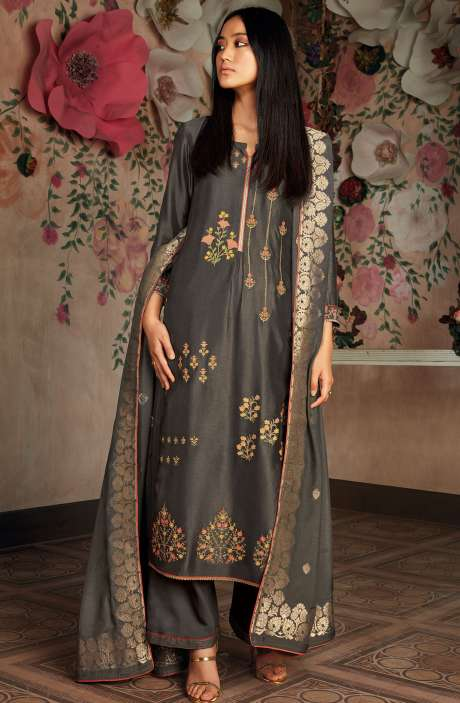 Russian Silk Zari and Embroidery Unstitched Salwar Kameez In Grey - CHE7829
