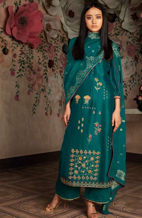 Russian Silk Zari and Embroidery Unstitched Salwar Kameez In Bottle Green - CHE7830