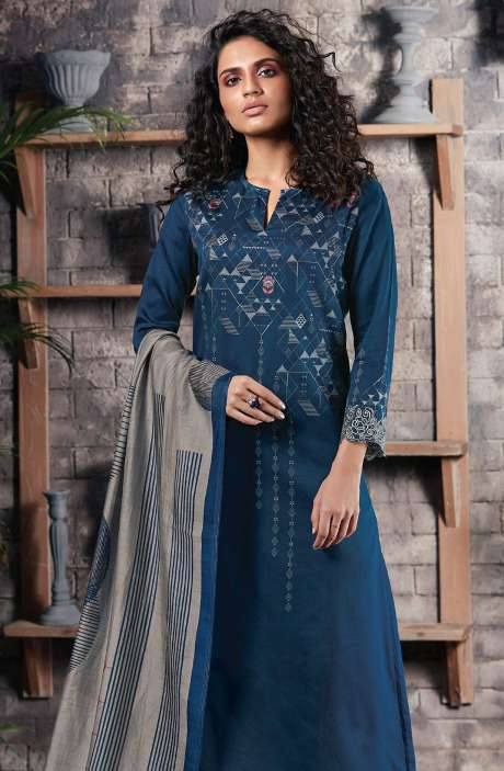 Cotton Satin Digital Printed Blue Unstitched Salwar Suit - CHE300