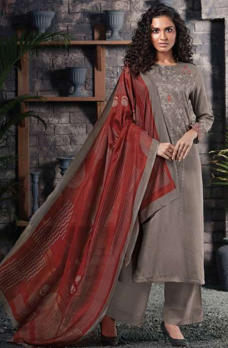 Cotton Satin Digital Printed Grey Unstitched Salwar Suit - CHE325