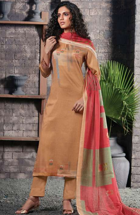Cotton Satin Digital Printed Brown Unstitched Salwar Suit - CHE342