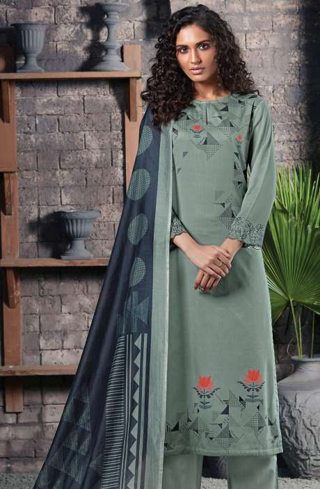 Cotton Satin Digital Printed Pastel Green Unstitched Salwar Suit - CHE350