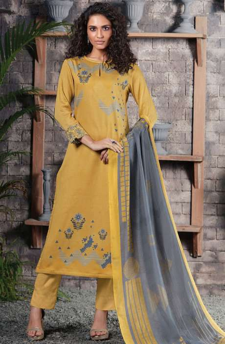 Cotton Satin Digital Printed Mehndi Green Unstitched Salwar Suit - CHE370