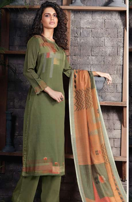 Cotton Satin Digital Printed Mehndi Unstitched Salwar Kameez - CHE378