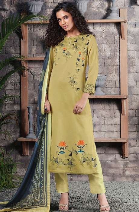 Cotton Satin Digital Printed Lime Green Unstitched Salwar Suit - CHE388