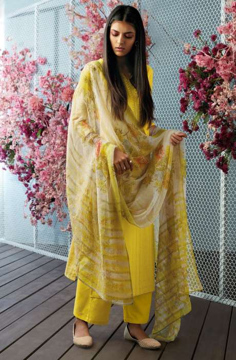 Cotton Unstitched Foil Print Salwar Kameez with Floral Chiffon Dupatta In Lime Yellow - CHE7640