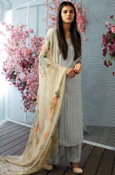 Cotton Unstitched Foil Print Salwar Kameez with Floral Chiffon Dupatta In Grey - CHE7642