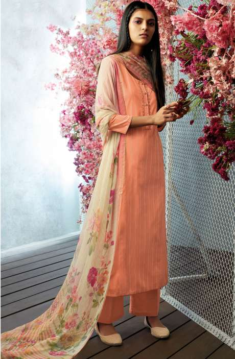 Cotton Unstitched Foil Print Salwar Suit with Floral Chiffon Dupatta In Orange - CHE7648