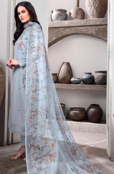 Digital Floral Print Cotton Salwar Kameez In Grey - CHI235