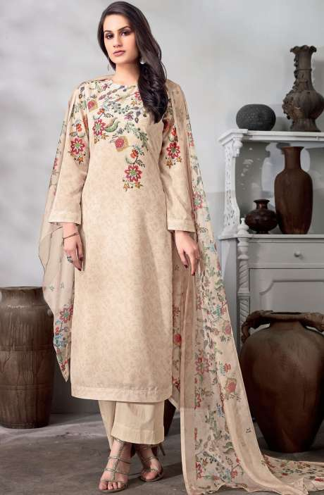 Digital Floral Print Cotton Salwar Kameez In Beige - CHI262