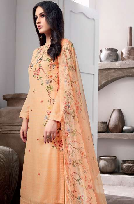 Digital Floral Print Cotton Salwar Kameez In Orange - CHI270