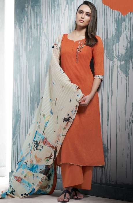 Gifts for Mother Cotton Printed Rust Salwar Kameez with Beautiful Dupatta - CHR7342