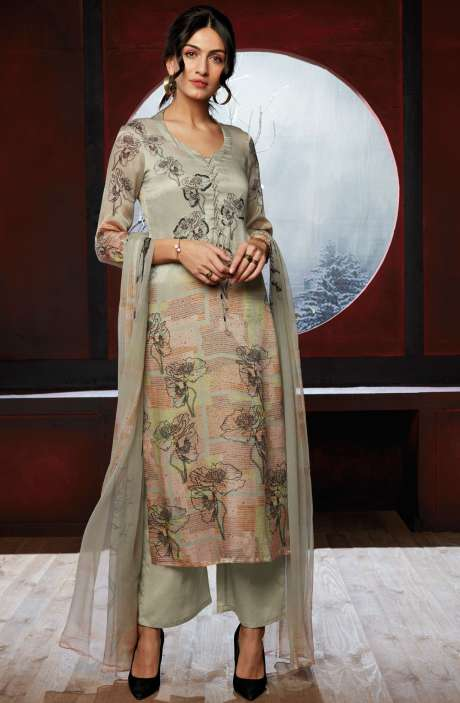 Beautiful Floral Digital Print Silk Satin Multi & Light Green Salwar Suit - CIR6816