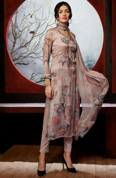 Beautiful Floral Digital Print Silk Satin Multi & Peach Salwar Kameez - CIR6817