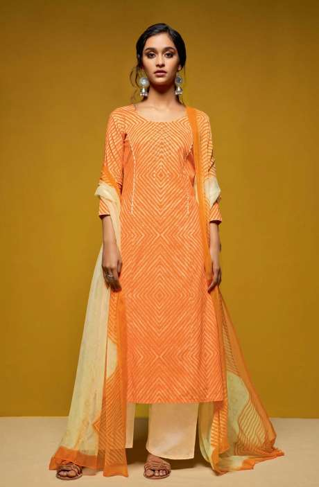 Cotton Digital Printed Salwar Suit Sets In Orange and Cream - COL5810