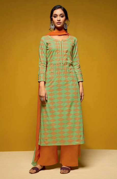 Cotton Digital Printed Salwar Suit Sets In Green and Orange - COL5812