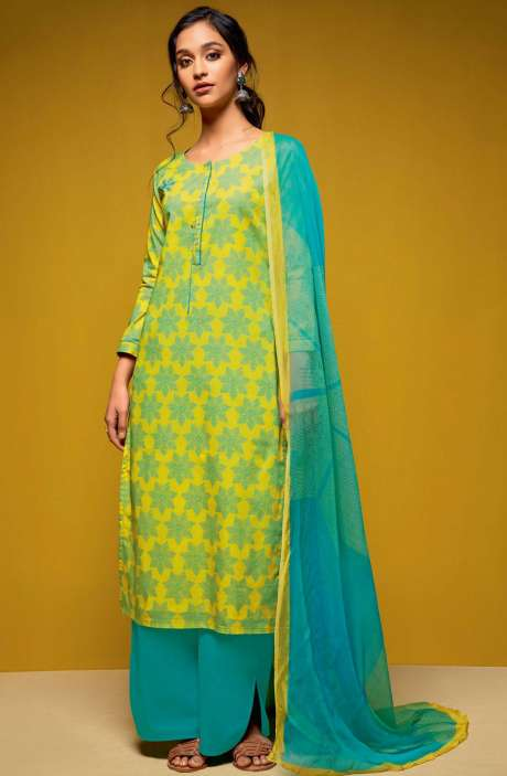 Cotton Digital Printed Salwar Suit Sets In Yellow and Turquoise - COL5813