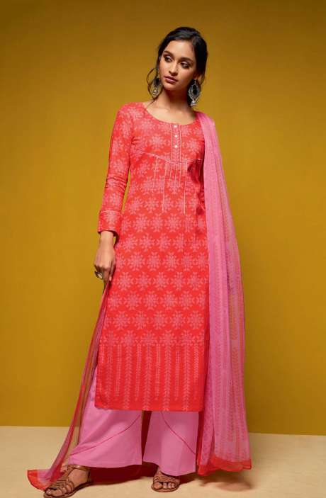 Cotton Digital Printed Salwar Suit Sets In Red and Pink - COL5814