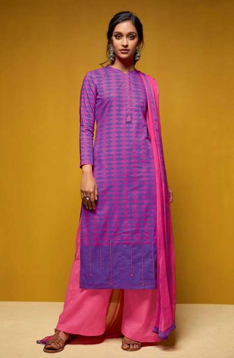 Cotton Digital Printed Salwar Suit Sets In Purple and Pink - COL5815