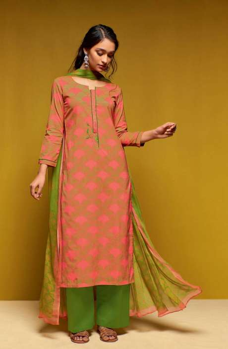 Cotton Digital Printed Salwar Suit Sets In Orange and Green- COL5816