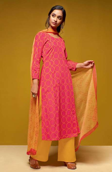 Cotton Digital Printed Salwar Suit Sets In Pink and Yellow - COL5817