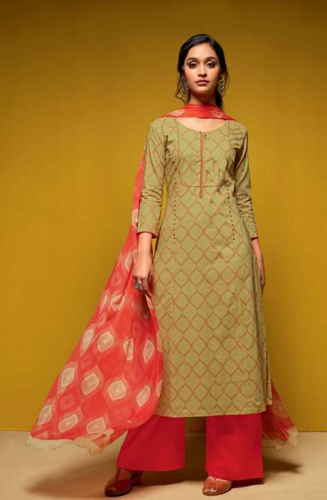 Cotton Digital Printed Salwar Suit Sets In Mehendi and Red - COL5818