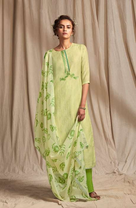 Modal Cotton Digital Printed Salwar Suit In Light Green - COLC0491