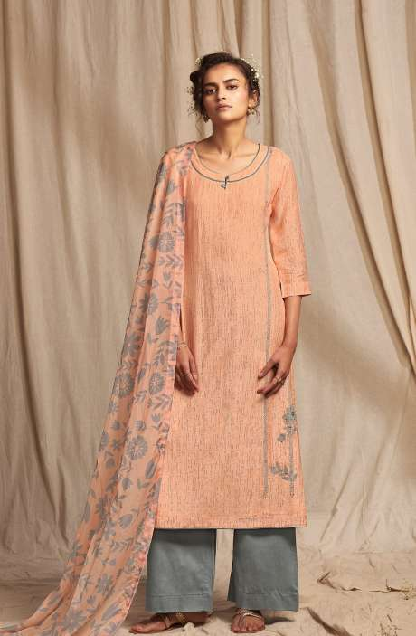 Modal Cotton Digital Printed Salwar Suit In Peach & Grey - COLC0492