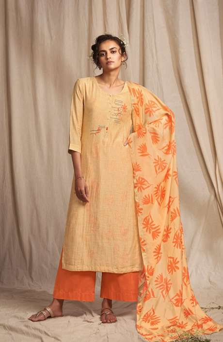 Modal Cotton Digital Printed Salwar Suit In Fawn - COLC0493