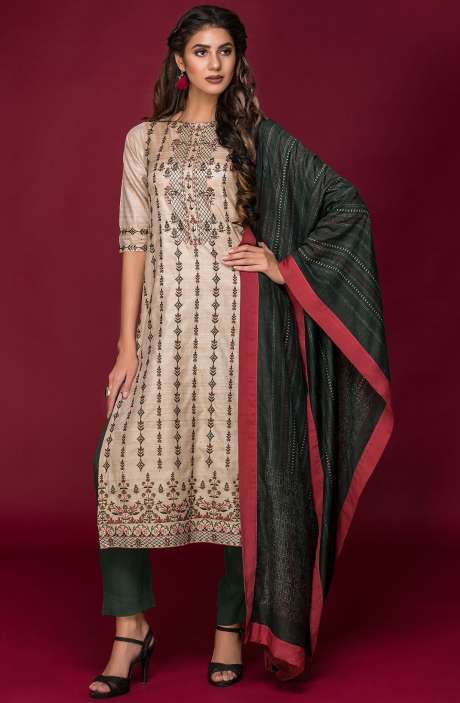 Tussar Silk and Crepe Exclusive Salwar Kameez In Beige & Bottle Green with Modal Dupatta - DAR2540