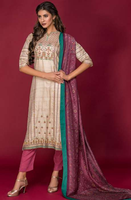 Tussar Silk and Crepe Exclusive Salwar Kameez In Beige & Mauve with Modal Dupatta - DAR2541-R